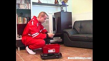 tv repairman seduced by busty blonde.