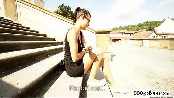 public cock sucking with euro teen babe outdoors 11