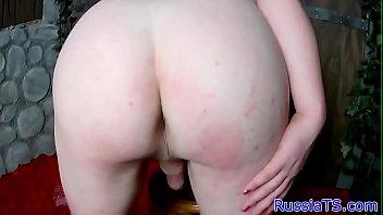 busty russian shemale wanking her hard.