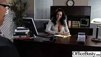 hard sex action in office with big round.