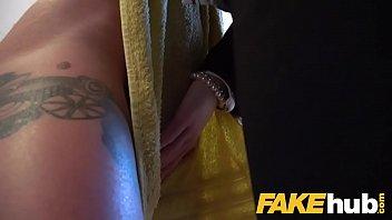 female agent hot busty redhead seduced in shower.