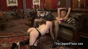 bound redhead hard spanked by two.