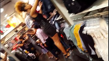 candid voyeur hot mall employee black dress tight.