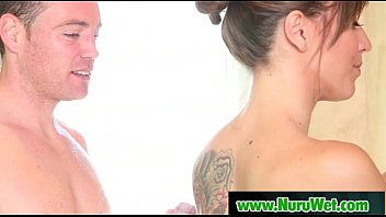 nuru massage with busty asian and hardcore fucking.