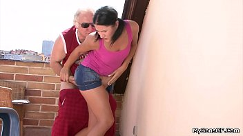 pigtailed brunette forced to ride old.