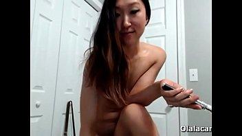 asian model destroys her ass with huge dildo.