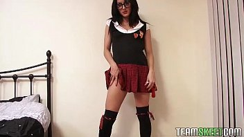 solointerviews smalltits brunette chloe lovette strip schoolgirl uniform masturb