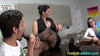 femdom feet licking in classroom