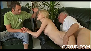 steaming young chick fucks old man