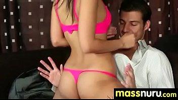 slippery nuru massage for lucky dude.