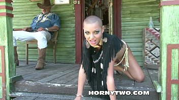 bald head and bald pussy of halloween cowgirl.