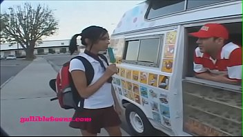 gullibleteens.com icecream teen in knee high white socks.
