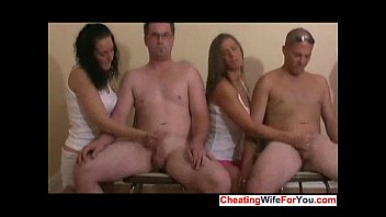 two lucky guys cum on a.