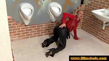 Blonde gets her satin blouse spunked on