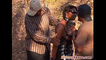 black african abused outdoor tied sucks.