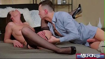 caroline ardolino milf brunette in stockings get cock.