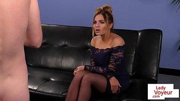gorgeous voyeur teasing submissive stranger