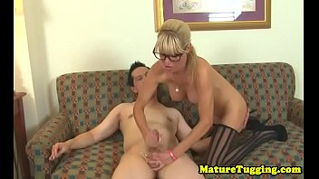 spex cougar wanking cock while in.
