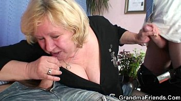 old bitch takes two cocks at.