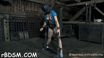 blindfolded and gagged gal gets her bawdy cleft.