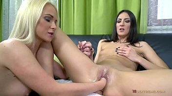 lusty blonde fisting her lesbian friend