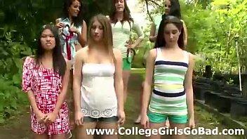 lesbian sorority humiliates nude teens outdoors