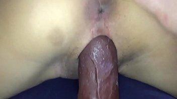 asian gf takes black dildo