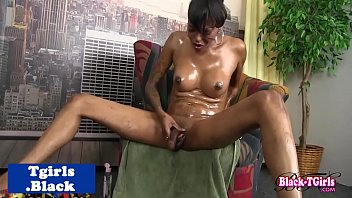 black hung tgirl solo stroking her.
