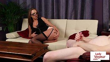 busty british voyeur teasing her tugging.