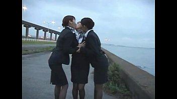 3 japanese lesbian airline stewardess girls.