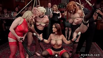 tied up slaves suffers lezdom at.