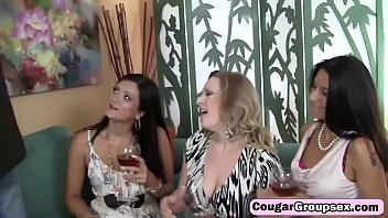 lucky fat cocked stud banging three hot cougars.