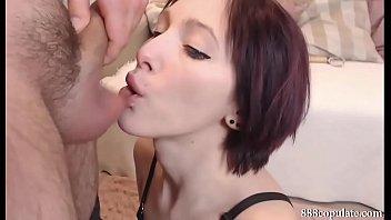 hot sexy brunette deepthroat blowjob swallow.