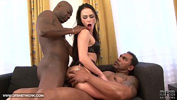 babe in hardcore interracial fuck she swallows cum.