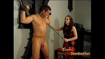 kinky dominatrix slut ties a stud down and.