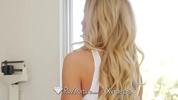 puremature blonde milf swallows big dick.