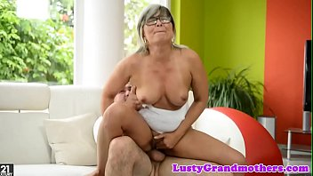 spex grandma rubs her pussy while.