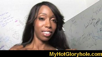 gloryhole ebony babe sucking white monster.