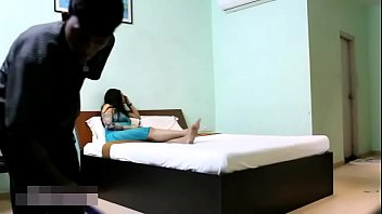indian bhabhi in blue lingerie teasing young room.