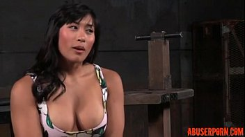 shackled asian slut'_s pussy and mouth used: free.