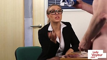 office femdom humiliates guy while giving.