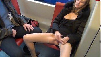 german slut masturbates in public