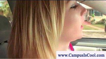 college girls get facial on backseat
