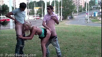 daring public street sex threesome with a hot.