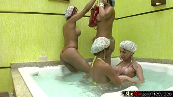 four horny tranny babes bang their big wet.