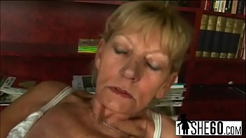 dirty blonde grandma gets fucked before sucking off.