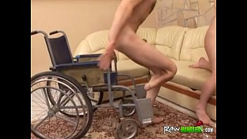 handicapped dude in wheelchair gets dick sucked by.