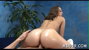 flawless girl gets oiled and rides large cock.