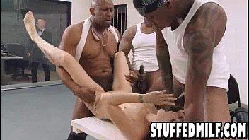 black haired milf gets gangbanged by three black dudes