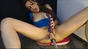 brunette babe fucked by machine and dildo on.